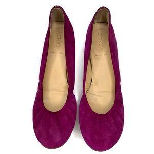 J.Crew Purple Fuschia Suede Ballet Flats Sz 9